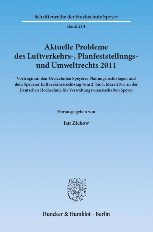 Cover Aktuelle Probleme des Luftverkehrs-, Planfeststellungs- und Umweltrechts 2011