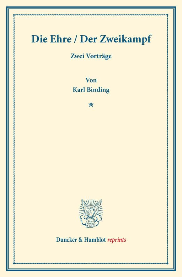 Cover Die Ehre / Der Zweikampf