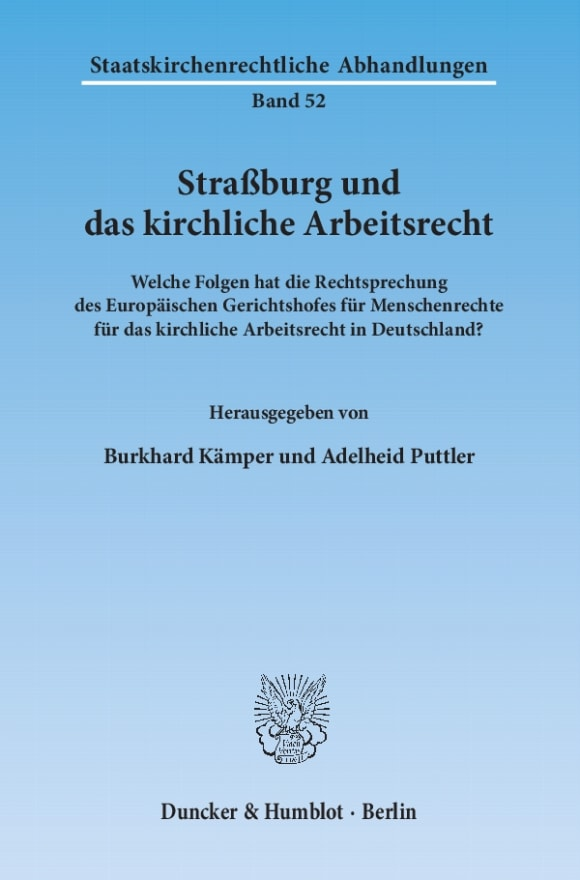 Cover Straßburg und das kirchliche Arbeitsrecht