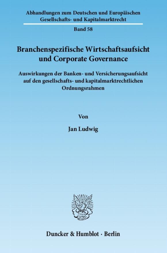 Cover Branchenspezifische Wirtschaftsaufsicht und Corporate Governance