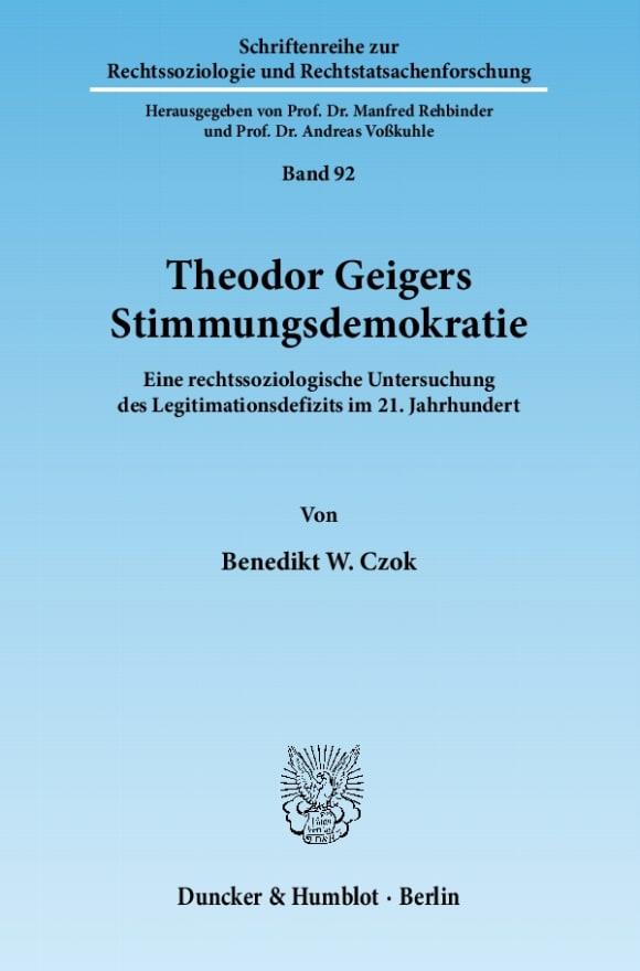 Cover Theodor Geigers Stimmungsdemokratie