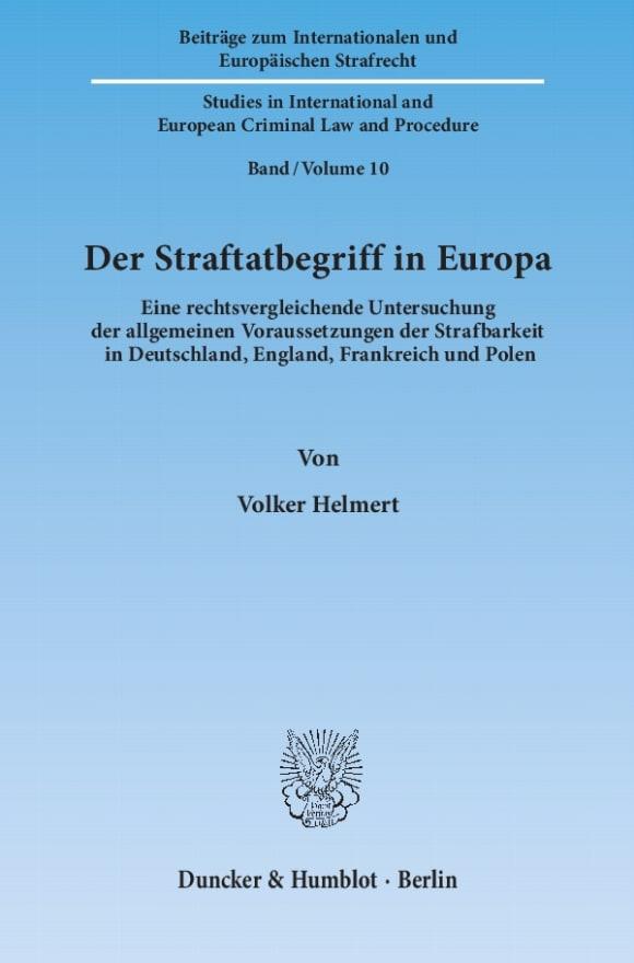 Cover Der Straftatbegriff in Europa