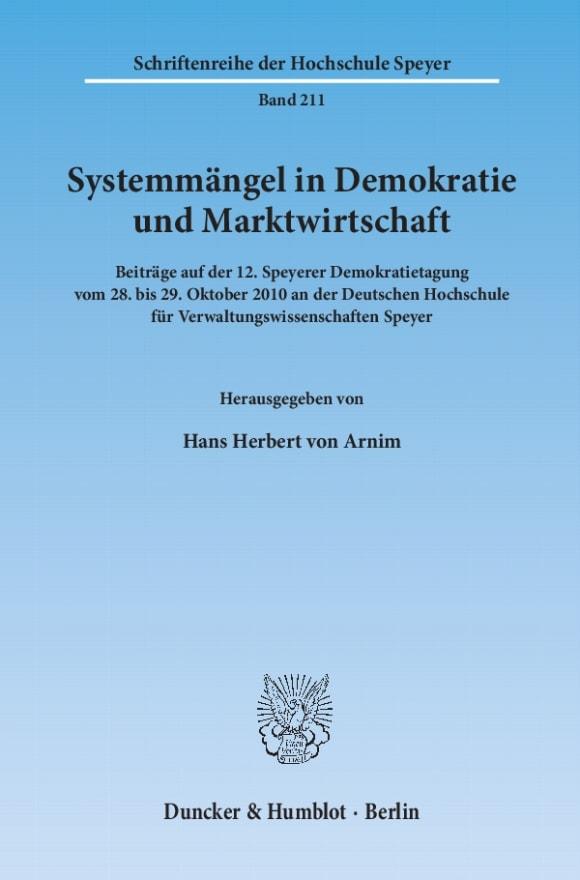 Cover Systemmängel in Demokratie und Marktwirtschaft
