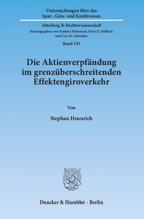 Cover Die Aktienverpfändung im grenzüberschreitenden Effektengiroverkehr