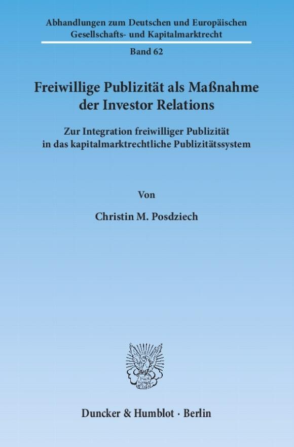 Cover Freiwillige Publizität als Maßnahme der Investor Relations