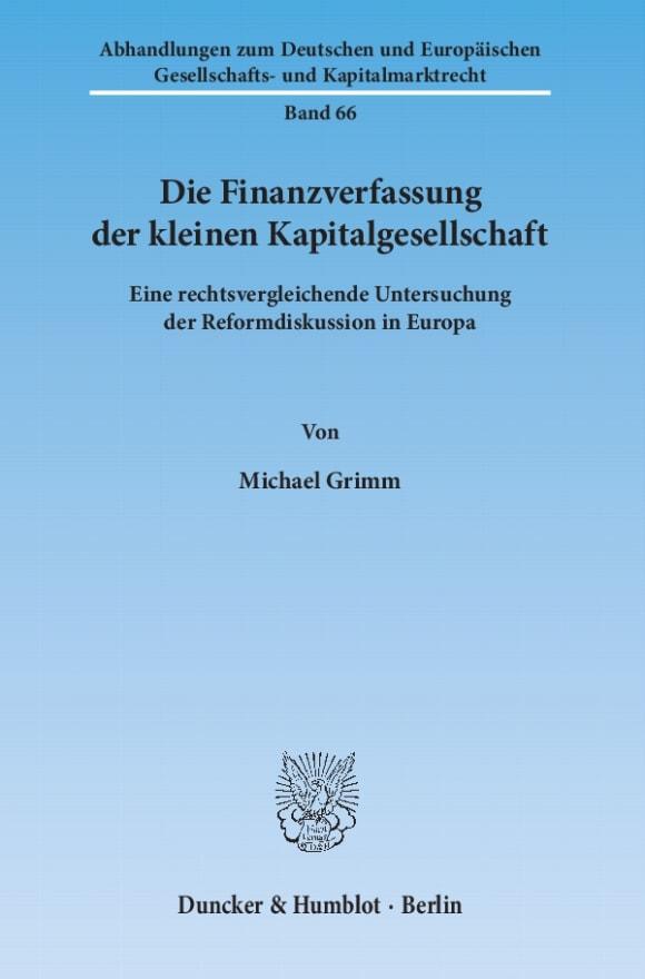 Cover Die Finanzverfassung der kleinen Kapitalgesellschaft