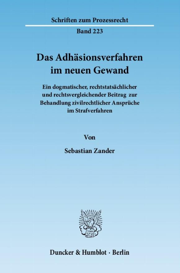 Cover Das Adhäsionsverfahren im neuen Gewand