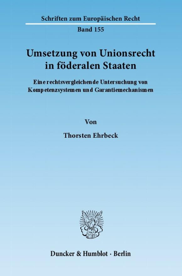 Cover Umsetzung von Unionsrecht in föderalen Staaten