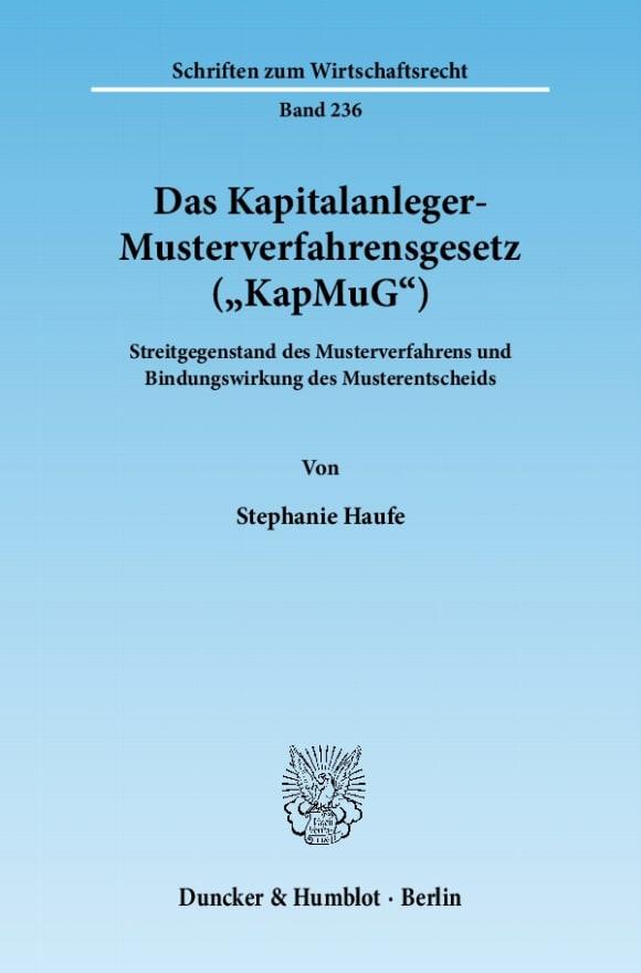 Cover Das Kapitalanleger-Musterverfahrensgesetz (»KapMuG«)