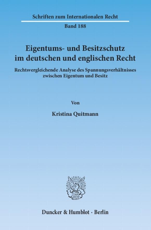 Cover Eigentums- und Besitzschutz im deutschen und englischen Recht