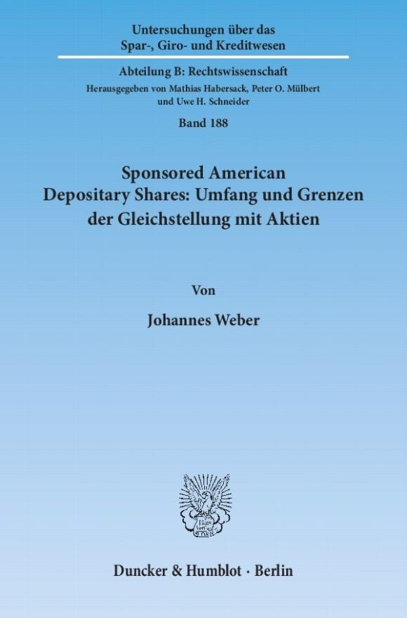 Cover Sponsored American Depositary Shares: Umfang und Grenzen der Gleichstellung mit Aktien<br/>