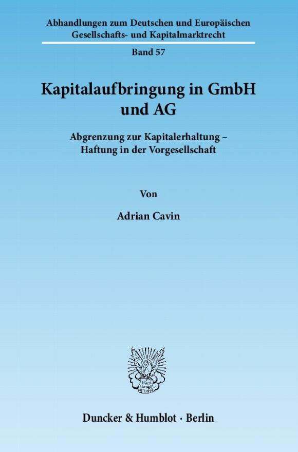 Cover Kapitalaufbringung in GmbH und AG