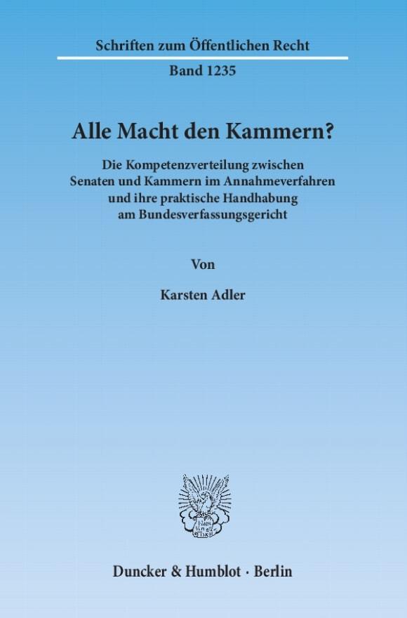 Cover Alle Macht den Kammern?