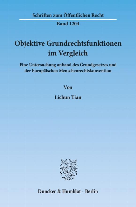 Cover Objektive Grundrechtsfunktionen im Vergleich