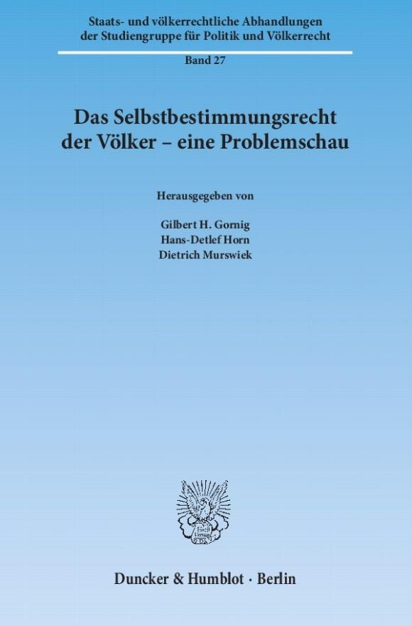 Cover Das Selbstbestimmungsrecht der Völker – eine Problemschau