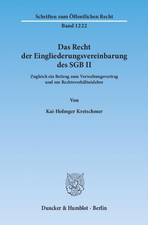 Cover Das Recht der Eingliederungsvereinbarung des SGB II