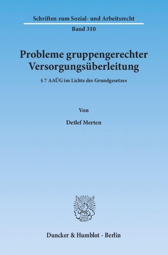 Cover Probleme gruppengerechter Versorgungsüberleitung