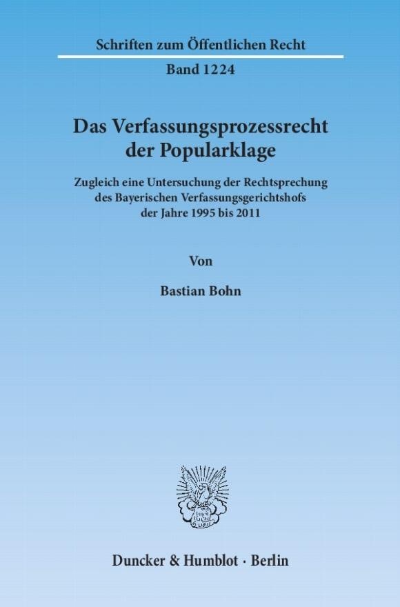 Cover Das Verfassungsprozessrecht der Popularklage