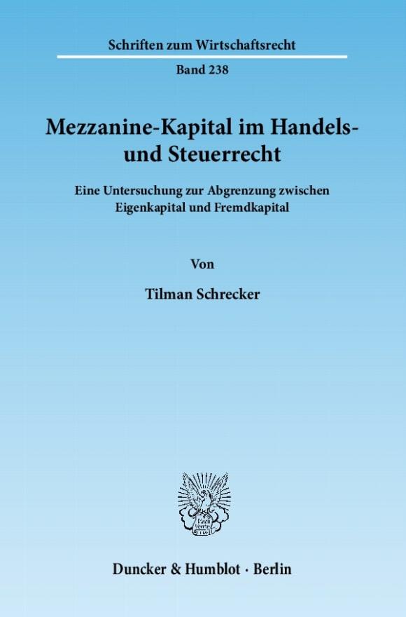 Cover Mezzanine-Kapital im Handels- und Steuerrecht