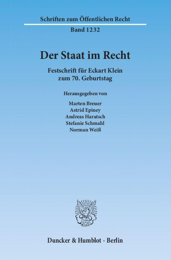 Cover Der Staat im Recht