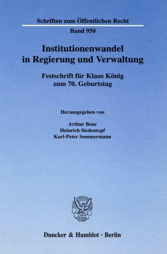 Cover Institutionenwandel in Regierung und Verwaltung
