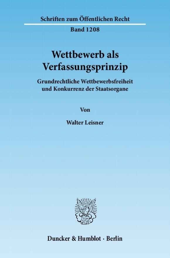 Cover Wettbewerb als Verfassungsprinzip