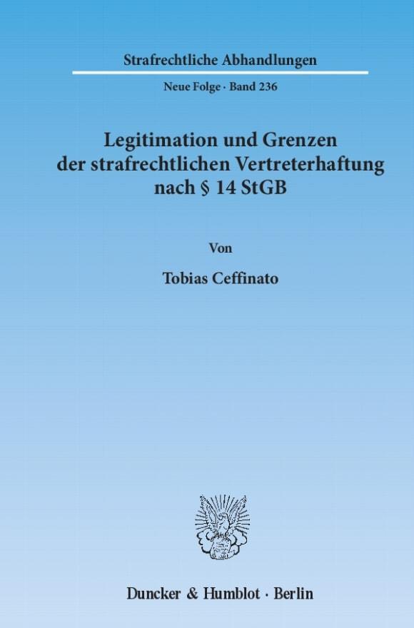 Cover Legitimation und Grenzen der strafrechtlichen Vertreterhaftung nach § 14 StGB