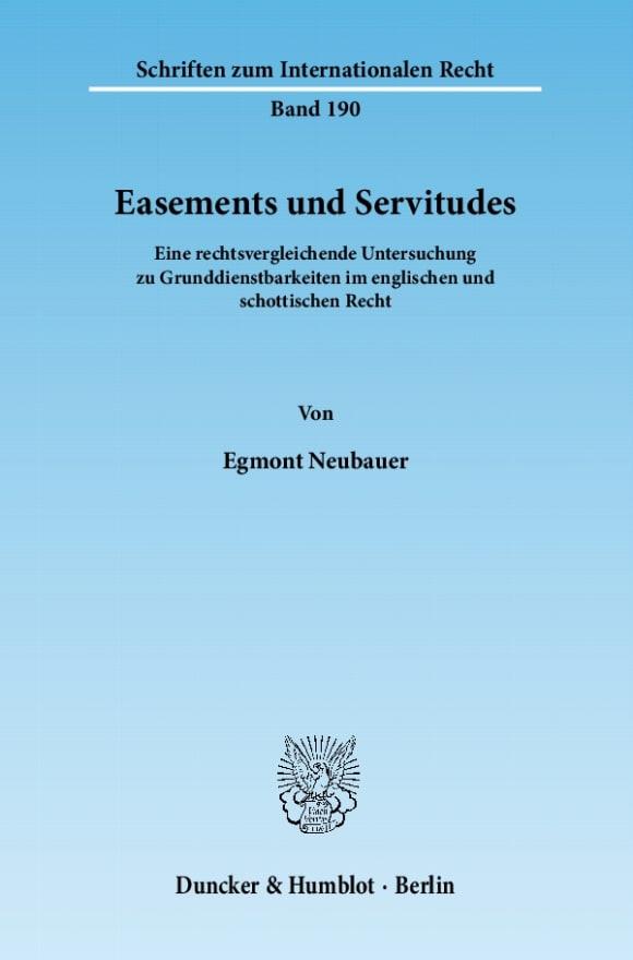Cover Easements und Servitudes