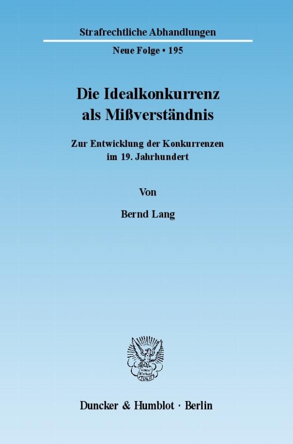 Cover Die Idealkonkurrenz als Mißverständnis