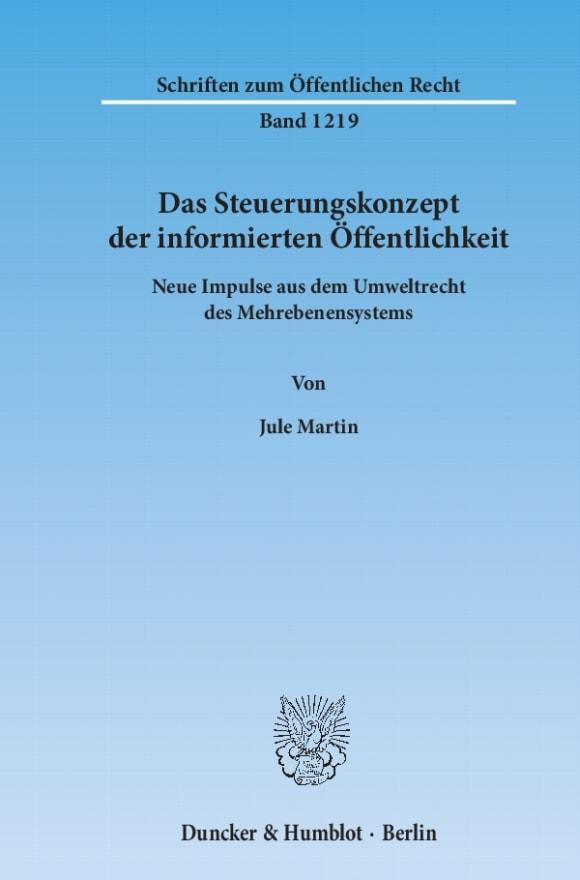 Cover Das Steuerungskonzept der informierten Öffentlichkeit