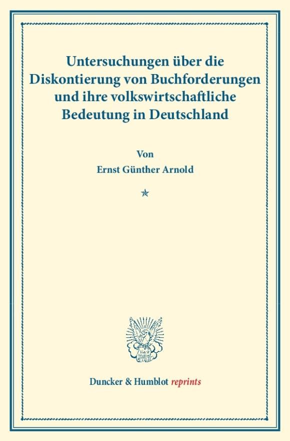 Cover Untersuchungen über die Diskontierung von Buchforderungen und ihre volkswirtschaftliche Bedeutung in Deutschland