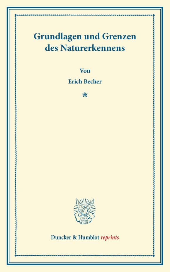 Cover Grundlagen und Grenzen des Naturerkennens