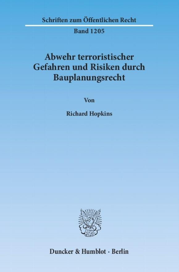 Cover Abwehr terroristischer Gefahren und Risiken durch Bauplanungsrecht