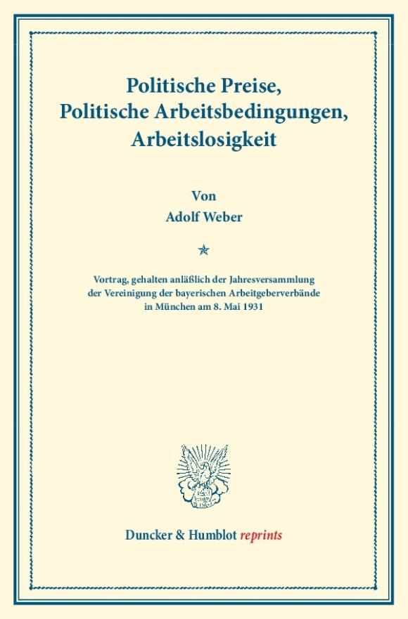 Cover Politische Preise, Politische Arbeitsbedingungen, Arbeitslosigkeit