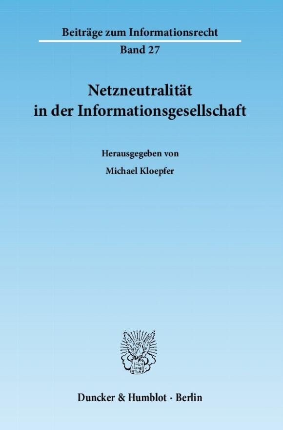 Cover Netzneutralität in der Informationsgesellschaft