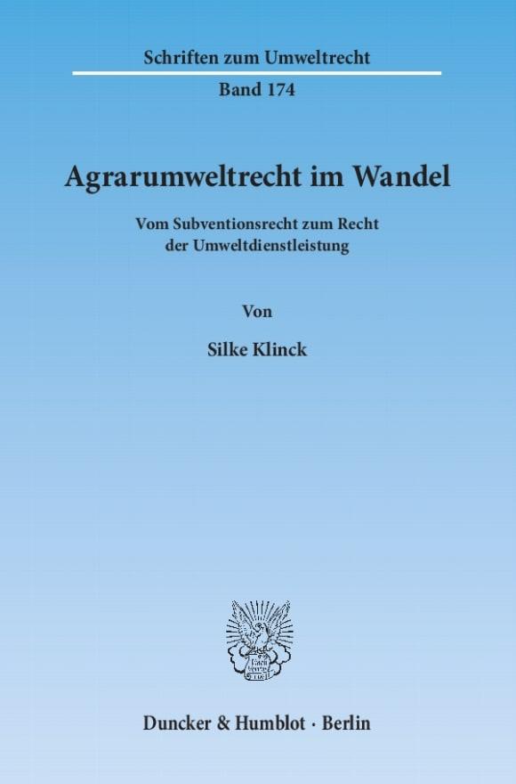 Cover Agrarumweltrecht im Wandel