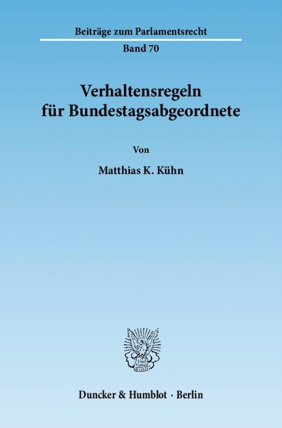 Cover Verhaltensregeln für Bundestagsabgeordnete