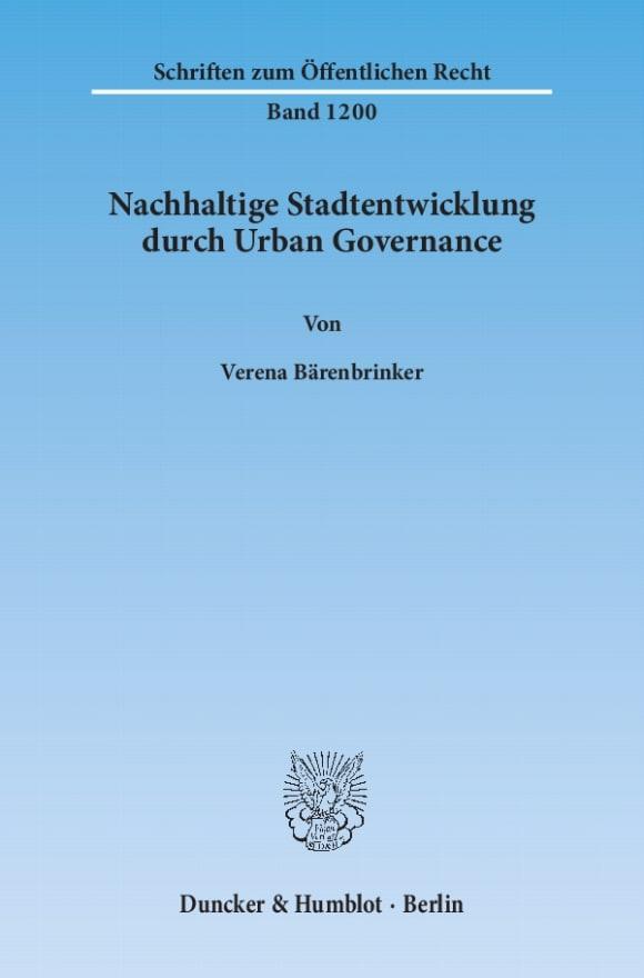 Cover Nachhaltige Stadtentwicklung durch Urban Governance