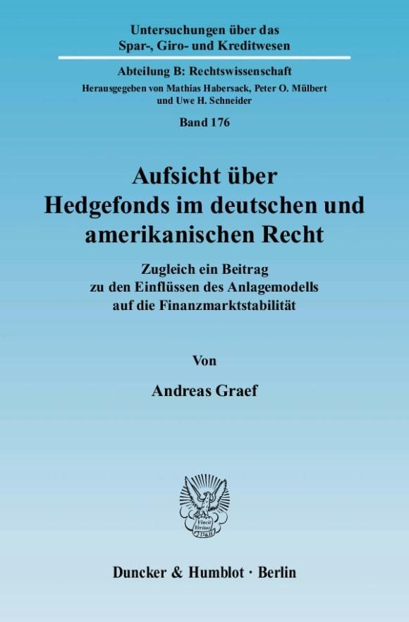 Cover Aufsicht über Hedgefonds im deutschen und amerikanischen Recht