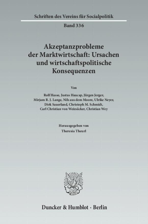 Cover Akzeptanzprobleme der Marktwirtschaft: Ursachen und wirtschaftspolitische Konsequenzen