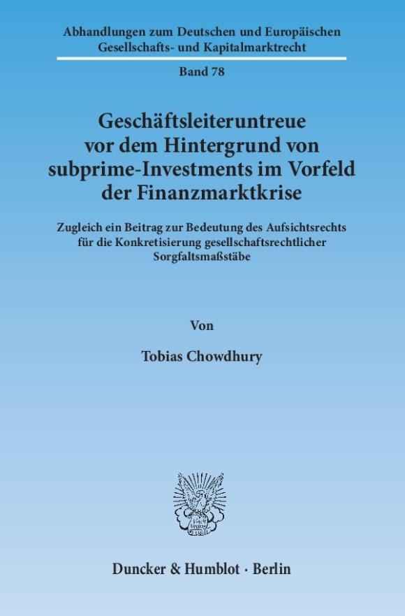 Cover Geschäftsleiteruntreue vor dem Hintergrund von subprime-Investments im Vorfeld der Finanzmarktkrise