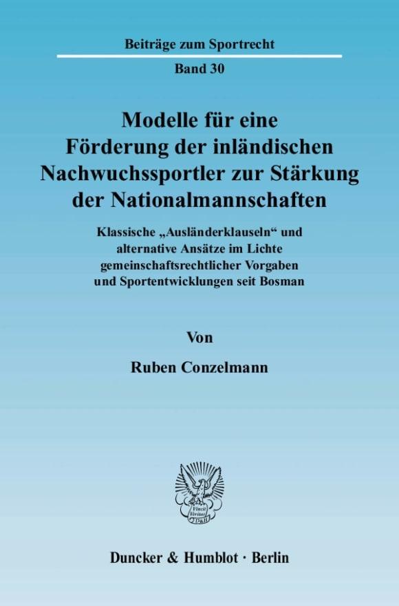Cover Modelle für eine Förderung der inländischen Nachwuchssportler zur Stärkung der Nationalmannschaften