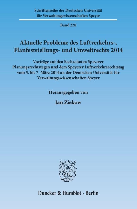 Cover Aktuelle Probleme des Luftverkehrs-, Planfeststellungs- und Umweltrechts 2014