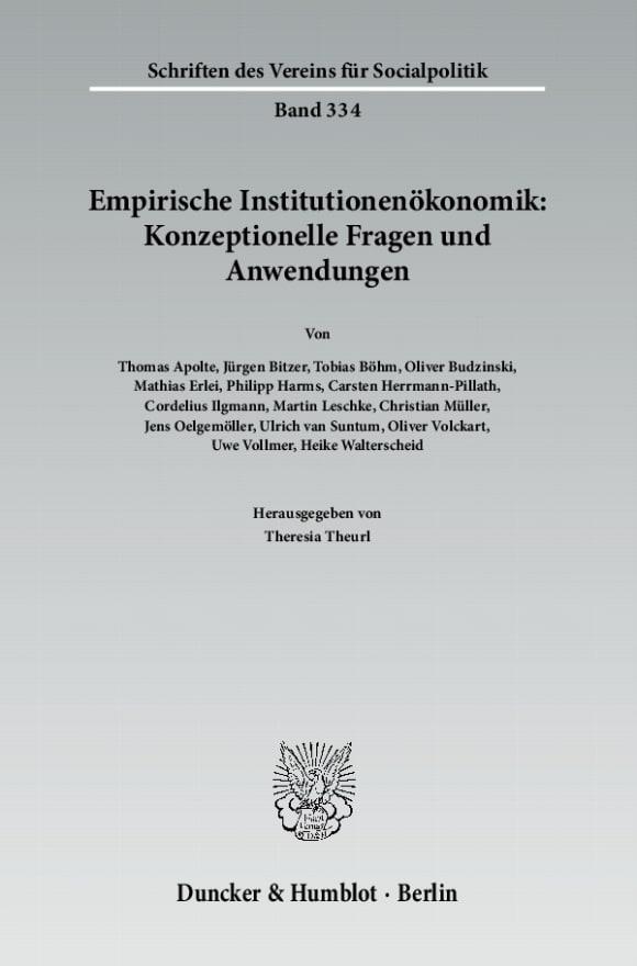 Cover Empirische Institutionenökonomik: Konzeptionelle Fragen und Anwendungen