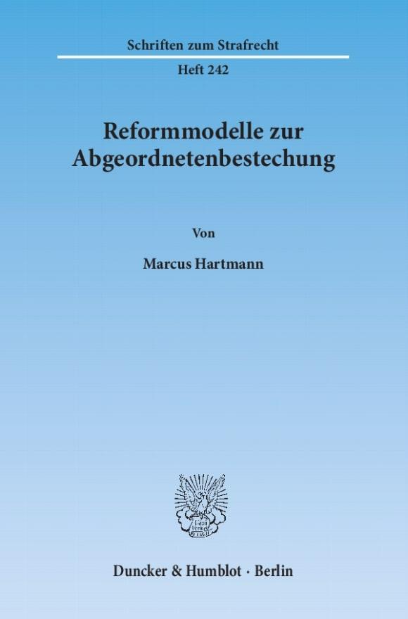 Cover Reformmodelle zur Abgeordnetenbestechung