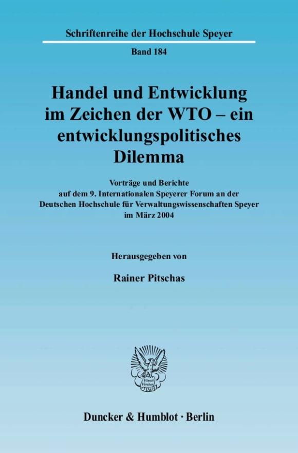Cover Handel und Entwicklung im Zeichen der WTO - ein entwicklungspolitisches Dilemma