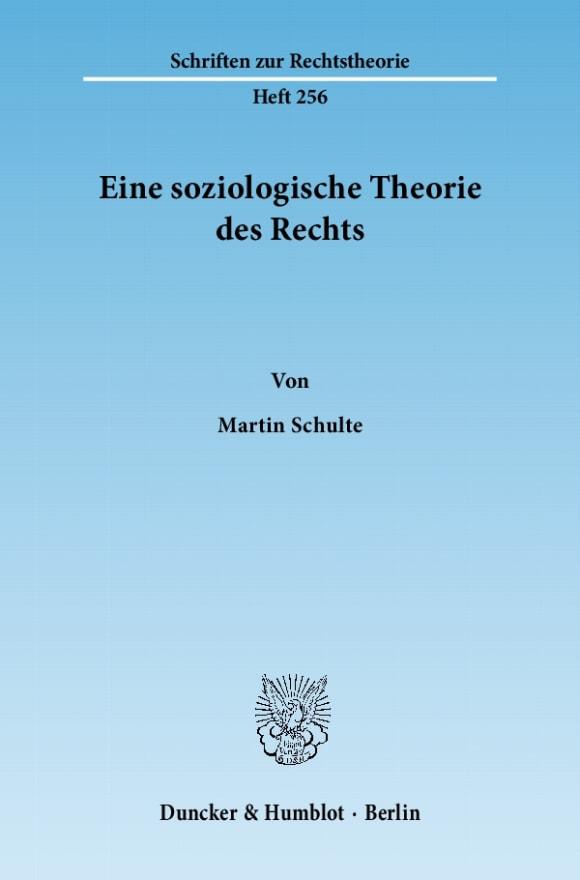Cover Eine soziologische Theorie des Rechts