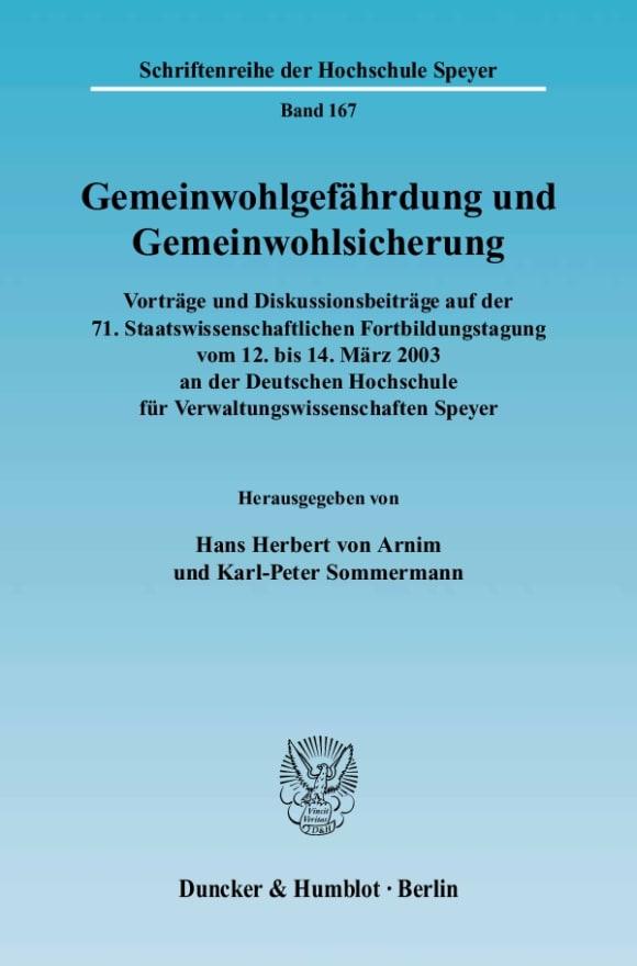 Cover Gemeinwohlgefährdung und Gemeinwohlsicherung