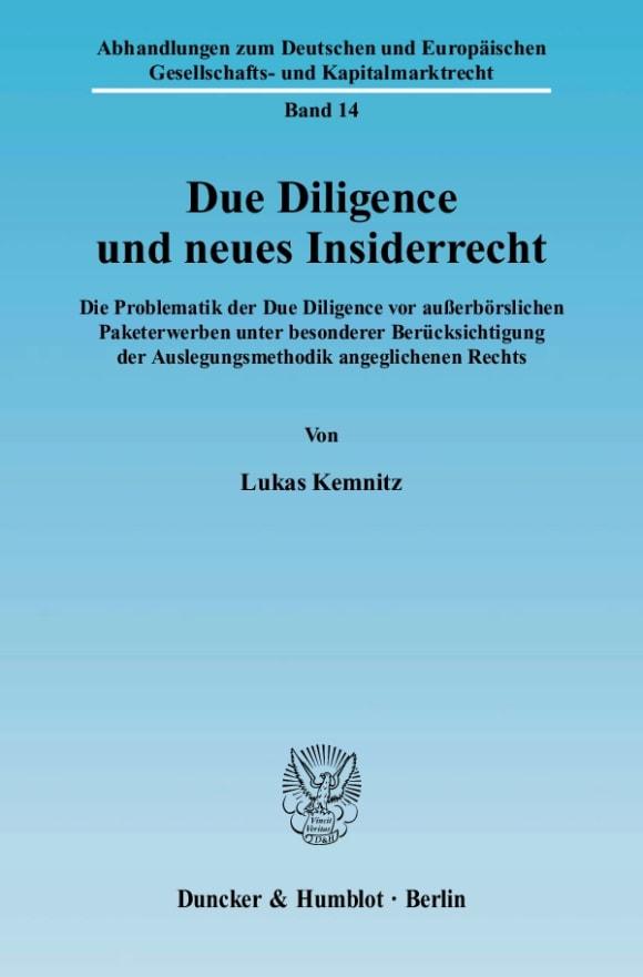 Cover Due Diligence und neues Insiderrecht