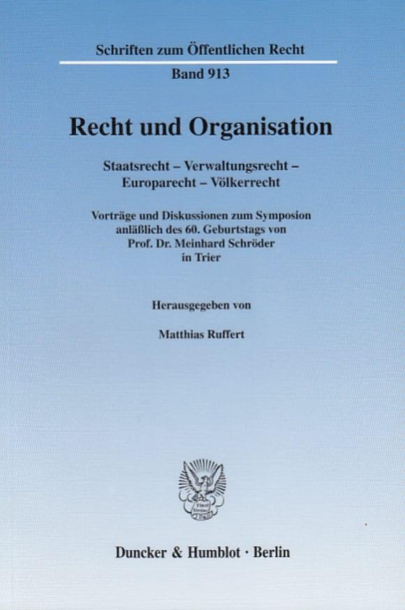 Cover Recht und Organisation